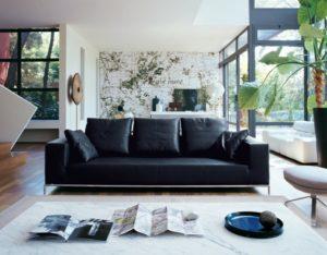 canapé en cuir noir